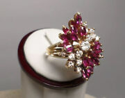 Vintage Luxurious Natural Diamond And Ruby 18k Yellow Gold Cluster Ring 1950and039s