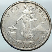 1908 S Philippines Under Us Administration W Eagle Silver Peso Coin I88156