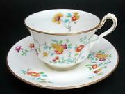 Cauldon Tea Teacup Cup And Saucer C1920and039s Hand Painted Floral Decor