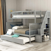 Twin Over Full Bunk Bed With Trundle And Stairs Weyoung Wood Stairway Twin/full