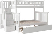 Atlantic Furniture Columbia Staircase Bunk Twin Size Urban Trundle Bed, Full, Wh