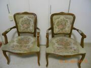Vintage French Louis Xv Courting Couple Tapestry Fauteuil Armchair Chateau D'ax