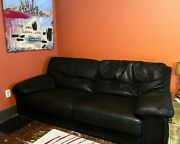 Roche-bobois Black Leather Couch