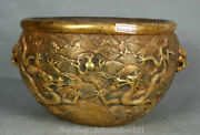 10 Marked Old Chinese Palace Copper Gold Lion Head Handle Dragon Pot Jar Crock