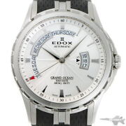 Edox Grand Ocean Day Date Automatic 83006 Silver Dial Ss Menand039s Watch [b0202]