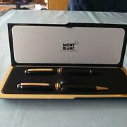 Mont Blanc Ballpoint Pen And Fountain-pens Nib 14k Black Gold W/case Used F/s