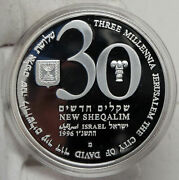 1993 Israel 48th Anniv Jewish State Vintage Proof Silver 30 Shekels Coin I88189