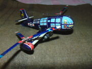 Old Tin Linemar Xv-3 Army Plane Vintage Friction Japan Toy Airplane