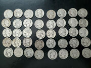 Lot Of 40 Washington Silver Quarters, 1 Roll, All From 1930's W/legible Dates