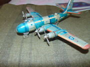 Rare Vintage Tin Friction Us Air Force Bk-270 Airplane Toy 1950and039s Japan