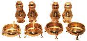 Set Of 8 Gilt English Silver Salt And Pepper Shakers And Condiment Dishes