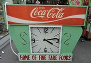 Vintage Coca Cola Advertisement Sign Electric Lighted Clock Works Large Rare