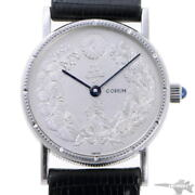 Corum Hand-wound Silver Dial Black Leather Belt Stainless Menand039s Watch [b0203]