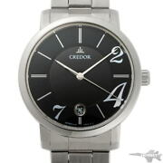 Seiko Credor Automatic Gcbw989 Black Dial Stainless Steel Menand039s Watch [b0203]