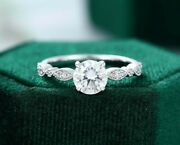 925 Sterling Silver 0.93 Ct Round Cut Antique Forever One Engagement Ring
