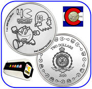 2020 Niue Pac-manandtrade 1 Oz Silver 2 40th Anniversary Coin -- Roll/tube Of 20 Coins