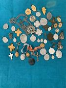 Lot Of 50 Vintage Religious Medals/crucifix. Some Sterling