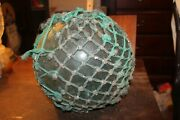 Antique Large Glass Fishing Float 12 With Ropes Dirt Barnacles Net Ocean Growth