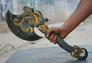 20 Chinese Bronze Dragon Handle Weapon Axe Hatchet Pair With Black Stand