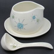 Franciscan Starburst Gravy Boat W Attached Underplate And Ladle Mid-century Modern