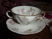 Theodore Haviland Limoge France Double Handle Cup With Similar Pattern Saucer