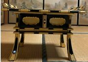 Japanese Buddhist Altar Wood Stand Table Black Lacquer Gold Leaf Width 48cm