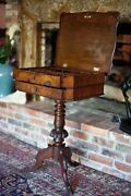 Antique Victorian 1840s Sewing Side Table Crotch Mahogany Walnut And Flip Top
