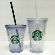 Lot Of 2 Starbucks Coffee Company 12 Oz 16 Oz Clear Menu Insulated Cold Cups