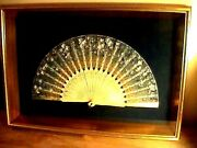 Antique Victorian French Silk Fan Framed Shadow Box Hand Painted Carved Birds