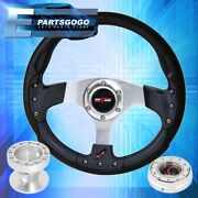 Carbon Fiber Silver Center Steering Wheel + Slim Quick Release For 90-96 300zx