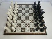 Vintage Large 31.5in X 31.5in Large Wood And Porcelain Chess W/ 6-8 Chess Pieces