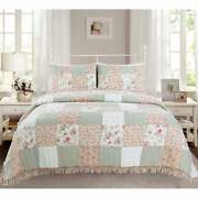 Cozy Chic Country Shabby Cottage Pink Red Green Lace Lilac Rose Ruffle Quilt Set