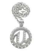 Iced Hip Hop Usher U Round Pendant 6mm/30 Link Chain Fashion Necklace Rc4228