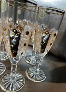 """6 Czech Bohemia Crystal Champagne Glasses Decorated Gold H 7"""" D 2 1/4"""""""