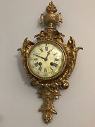 French Antique Ormolu Gilt Bronze Cartel Clock By A.d. Mougin Circa 1870 H185and039and039