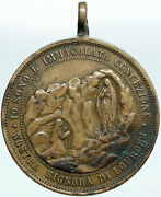 1800s France Sanctuary Of Our Lady Of Lourdes Vintage Mary Italian Medal I88210