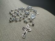 Rosary Religious Cross Medal Virgin Mary 10k White Gold Necklace Chain Italy
