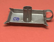"""Vintage Quaker Oats Advertising Silver Tone Tin Candle Stick Holder 4.5"""""""