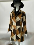 Womens Suede Leather Trench Coat Jacket Patch Work Brown Size S M L Xl Xxl 3xl