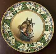 Antique Hand Painted Nippon Horse Lady Plate Green Gold Moriage Portrait Vtg