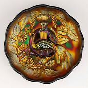 Northwood Peacock And Urn Carnival Glass Small Ics Bowl Amethyst/purple