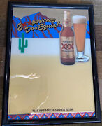 Vintage Dos Equis Xx Imported Beer Bar Sign Write On Mirror 18.5andrdquo X 24.5andrdquo Cactus