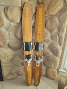 Vintage Wooden Water Skis - Riviera - 49 Tall Set Of 2 Rustic Cabin Decor