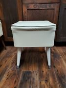 Vintage Mid Century P-leather Mod Storage Sewing Foot Stool Ottoman Bench Hinged