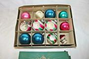 Vintage 12 Shiny Brite Christmas Ornaments Spinning Top-stenciled-double Indents