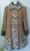 Vintage 1960's Country Pacer Wool And Leopard Print Pea Swing Coat Fur Collar