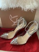 New Christian Louboutin Just Picks Silver Spikes Strass Size 39