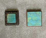 Pair Antique Arts And Crafts Style Movement Trivets Pottery Ca 1915