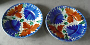 Lot Of 2 Vintage Mexico Pottery Glazed Flowers Dinner Plates 8 3/4 Wide