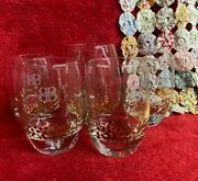 5 Baileys Glass Tumblers And Large Glasses Gold Polka Dot Design Solid Bottom
